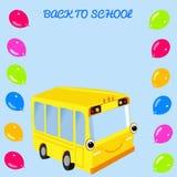 Gul skolbuss och ballonger Arkivfoton
