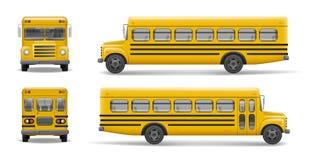 Gul skolbussframdel-, baksida- och sidosikt Trans.- och medeltransport, tillbaka till skolan Relistic buss stock illustrationer