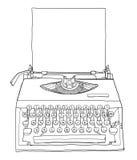 Gul skrivmaskinstappning med papper Arkivfoto