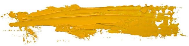 Gul slaglängd för borste för fläck för oljatexturmålarfärg royaltyfria foton