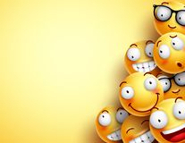 Gul smileysvektorbakgrund Emoticons eller smileys stock illustrationer