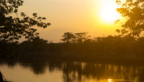 Gul solnedgång i Nong Khai, Thailand royaltyfri fotografi