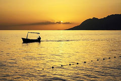 Gul solnedgångKroatien Arkivbilder