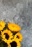 Gul solrosbukett på Grey Background Royaltyfri Fotografi