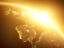 Gul soluppgång, sunburst, royaltyfria foton