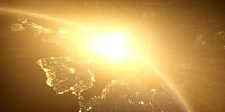 Gul soluppgång, sunburst, royaltyfria bilder