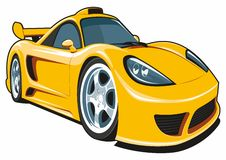 Gul sportbil för tecknad film Royaltyfri Fotografi