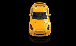 Gul sportbil på svart bakgrund - Front Top View Fotografering för Bildbyråer