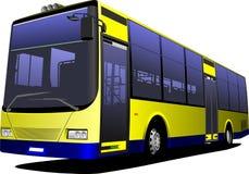 Gul stadsbuss lagledare Fotografering för Bildbyråer