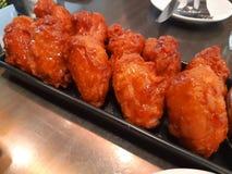 Gul stekt kyckling, koreansk stilram royaltyfria bilder
