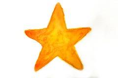 Gul stjärna i vattenfärg Royaltyfri Foto