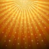 Gul stjärnabristning med stjärnafall Arkivfoto