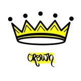 Gul svart kvinnatiara För symbolskonung för hand utdraget symbol stiliserad krona för drottning Calligraphic handskriven ordkrona vektor illustrationer