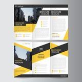 Gul svart trifold design för mall för broschyrbroschyrreklamblad, bokomslagorienteringsdesign royaltyfri illustrationer
