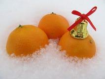 Gul tangerin med en klocka i vintern Fotografering för Bildbyråer