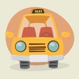 Gul taxi för tecknad film Royaltyfria Foton