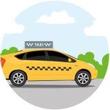 Gul taxibil framme av himmel med moln, taxisymbol, appelltaxibegrepp, illustration Royaltyfria Foton