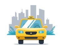 Gul taxibil på bakgrunden av staden stock illustrationer