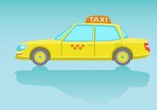 Gul taxibil Plan stil Royaltyfri Bild