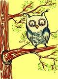 Gul tecknad filmuggla på trädfilialerna Arkivfoton