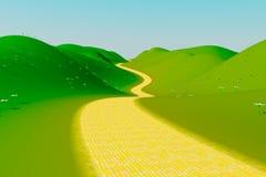 Gul tegelstenväg Arkivfoton