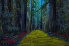 Gul tegelstenväg som leder till och med en spöklik mörk skog stock illustrationer
