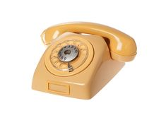 Gul telefon Royaltyfria Foton