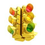 Gul trafikljus Arkivbild