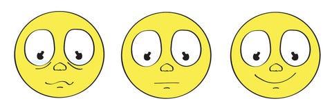gul uppsättning för framsida för tecknad filmsmileyemoticon Arkivfoton