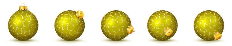 Gul uppsättning för vektorjulbollar med textur - struntsaker X-Mas royaltyfri illustrationer