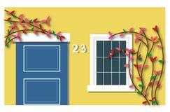 Gul vägg, blå dörr och blomning vektor illustrationer