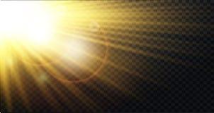 Gul varm ljus effekt, solstrålar, strålar royaltyfri illustrationer