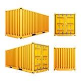 Gul vektor för behållare för last 3D Klassisk lastbehållare för realistisk metall Fraktsändningsbegrepp logistik Arkivbild