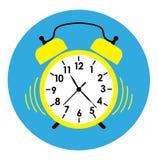 Gul vektor för lägenhet för klockalarmsymbol Royaltyfri Foto