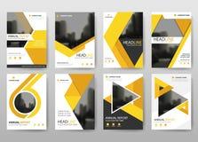 Gul vektor för mall för design för reklamblad för packeårsrapportbroschyr, bakgrund för lägenhet för abstrakt begrepp för broschy stock illustrationer