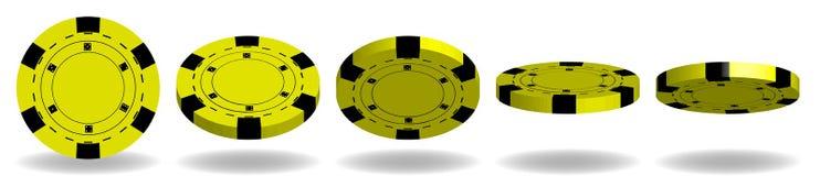 Gul vektor för pokerchiper realistisk uppsättning 3D Flip Different Angl stock illustrationer