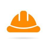 Gul vektorsymbol för hård hatt royaltyfri illustrationer