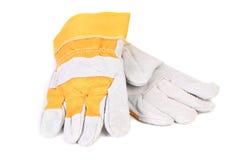 Gul vit för konstruktionshandskar. Royaltyfria Bilder