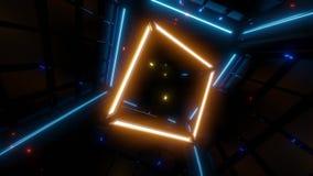 Gul wireframekub med blåa ljus i bakgrund stock illustrationer