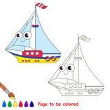 Gul yachttecknad film Sida som ska färgas vektor illustrationer