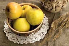 Gula äpplen och keramisk foodware Royaltyfri Bild
