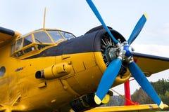 Gula Antonov An-2 står på flygfält royaltyfri bild