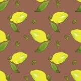 Gula citronfrukter med gröna sidor som isoleras på terrakottabakgrund Vattenf?rg som drar den s?ml?sa modellen f?r design vektor illustrationer