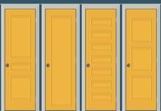Gula dörrar stängde - dörrramen endast, inga väggar Gul dörrillustration Royaltyfri Fotografi