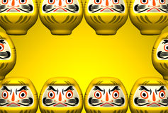 Gula Daruma dockor på utrymme för gul text Fotografering för Bildbyråer