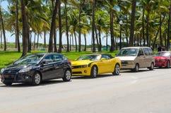 Gula detaljer Chevrolet Camaro SS konvertibla för främre sida Royaltyfria Foton