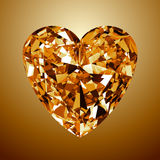 Gula Diamond Heart stock illustrationer