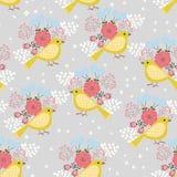 Gula fåglar royaltyfri illustrationer