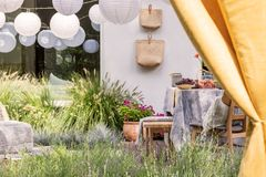 Gula förhängear och vita lyktor i trädgården med frukter på tabellen, blommor och påsar Verkligt foto royaltyfria bilder
