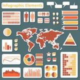 Gula fastställda beståndsdelar av infographicsen som är röda och Royaltyfri Foto